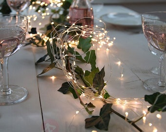 100 LED 32ft Silver Copper String Lights - Battery Operated for Rustic Wedding, Centerpiece, Room Decor, Garden, Indoor Outdoor