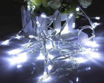 32ft 100 LED Battery operated String Fairy Light Wedding Party Christmas decoration, Warm White, White