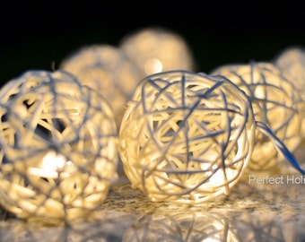 10 Rattan Balls 4 ft Fairy String LED Lights Battery Operated Party Patio Wedding Hanging Gift Home Decoration