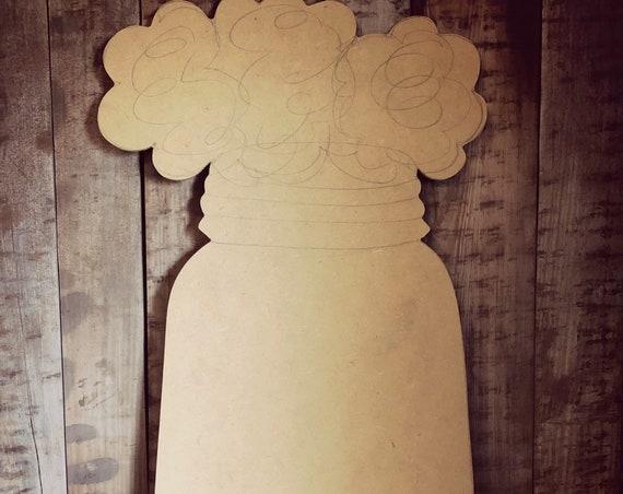 Unfinished, Mason Jar, Cotton, Door, Hanger, Summer, Farmhouse, DIY, Blank, Wood, Cut, Out, Ready, To, Paint, Custom, Wholesale