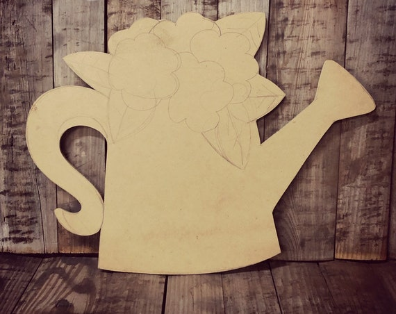 Unfinished, Watering Can, Flowers, Door, Hanger, DIY, Blank, Wood, Cut, Out, Ready, To, Paint, Fall, Summer, Christmas, Custom,
