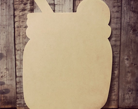 Unfinished, Mason, Jar, Drink, Door, Hanger, DIY, Blank, Wood, Cut, Out, Ready, To, Paint, Fall, Summer, Christmas, Custom, Wholesale