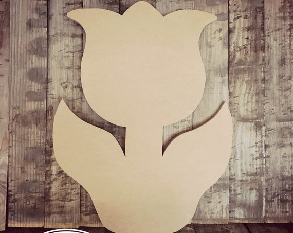 Unfinished, Tulip, Flower, Door, Hanger , DIY, Blank, Wood, Cut, Out, Ready, To, Paint, Custom, Wholesale