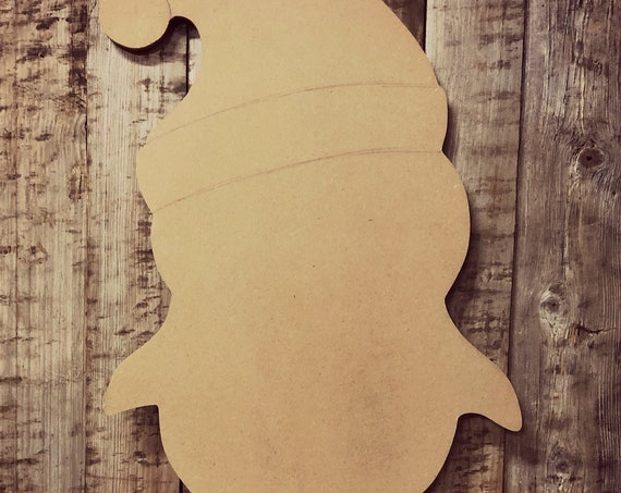 Unfinished, Penguin, Santa Hat, Christmas, Door Hanger, Ready To Paint, Decor, DIY, Blank, Holiday Decor, Paint Blank, Wood, Cut, Out
