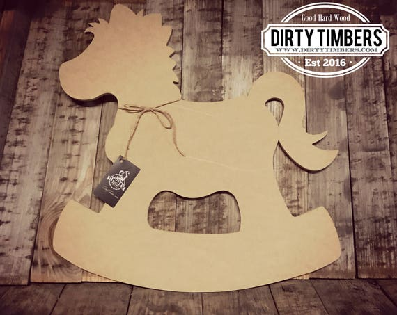 Unfinished, Rocking, Horse, Door, Hanger, Shower, Baby, Announcement, Birth, Hospital, DIY, Blank, Wood, Cut, Out, Ready, To, Paint, Custom