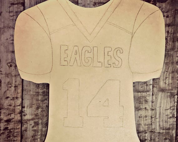 Unfinished, Football, Jersey,  Door, Hanger, Player, Fall, School, DIY, Blank, Wood, Cut, Out, Ready, To, Paint, Custom,Wholesale