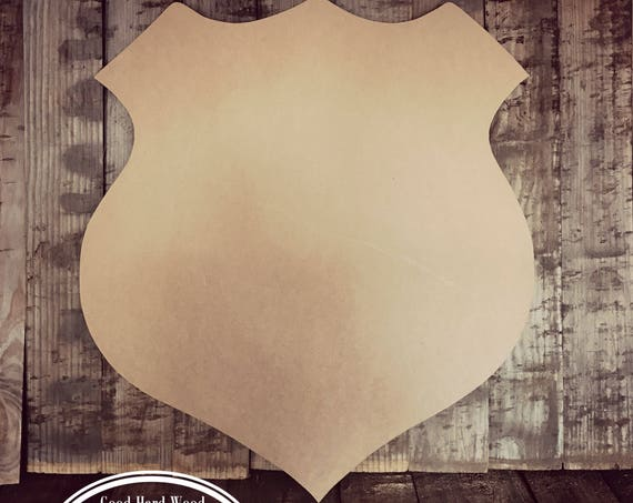 Unfinished, Police, Badge, Cop, Door, Hanger, Shield,  DIY, Blank, Wood, Cut, Out, Ready, To, Paint, Custom, Wholesale