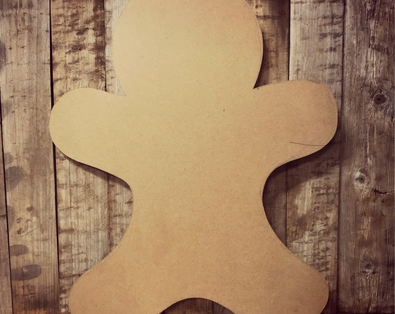 Unfinished, Gingerbread, Man, Christmas, Door Hanger, Ready To Paint, Decor, DIY, Blank, Holiday Decor, Paint Blank, Wood, Cut, Out