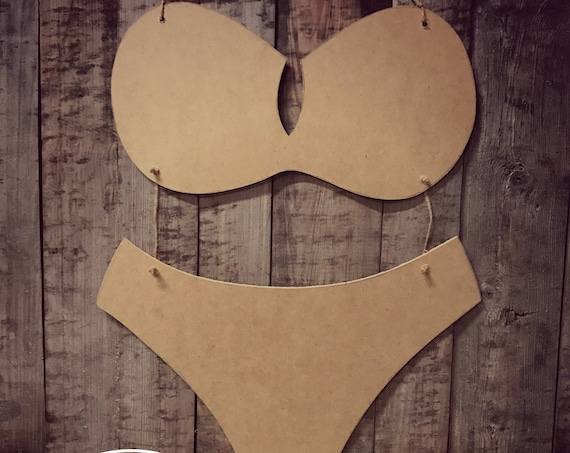 Unfinished, Bikini, Swim Suit,  Door, Hanger, Summer, Pool, Beach, DIY, Blank, Wood, Cut, Out, Ready, To, Paint, Custom, Wholesale