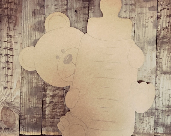 Unfinished, Bear, Baby, Door, Hanger, Bottle, Nursery, Announcement,  DIY, Blank, Wood, Cut, Out, Ready, To, Paint, Custom,Wholesale