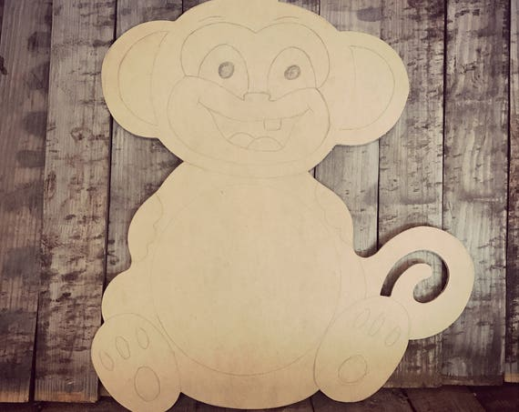 Unfinished, Monkey, Door, Hanger, Baby, Shower, Announcement, Party, DIY, Blank, Wood, Cut, Out, Ready, To, Paint, Custom,Wholesale