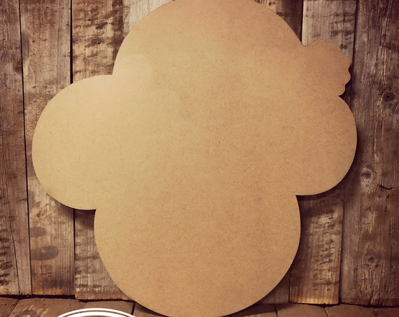 Unfinished, Santa, Mickey Mouse, Christmas, Door Hanger, Ready To Paint, Decor, DIY, Blank, Holiday Decor, Paint Blank, Wood, Cut, Out