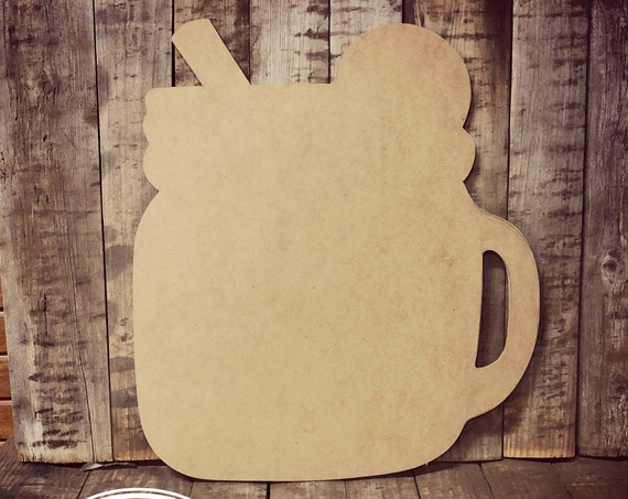 Unfinished, Mason, Jar, Handle Ice, Tea, Lemonade, Door, Hanger, DIY, Blank, Wood, Cut, Out, Ready, To, Paint, Fall, Summer, Custom