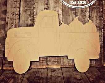 Unfinished, Truck, Door, Hanger, Pumpkin, Fall, Halloween, DIY, Blank, Wood, Cut, Out, Ready, To, Paint, Custom, Wholesale