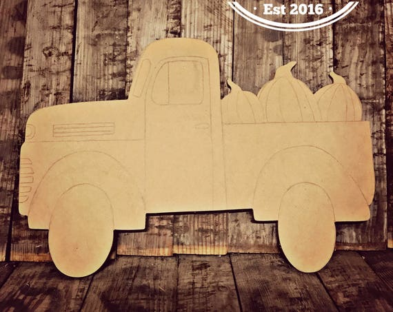 Unfinished, Truck, Door, Hanger, Pumpkin, Fall, Halloween, DIY, Blank, Wood, Cut, Out, Ready, To, Paint, Custom, Wholesale
