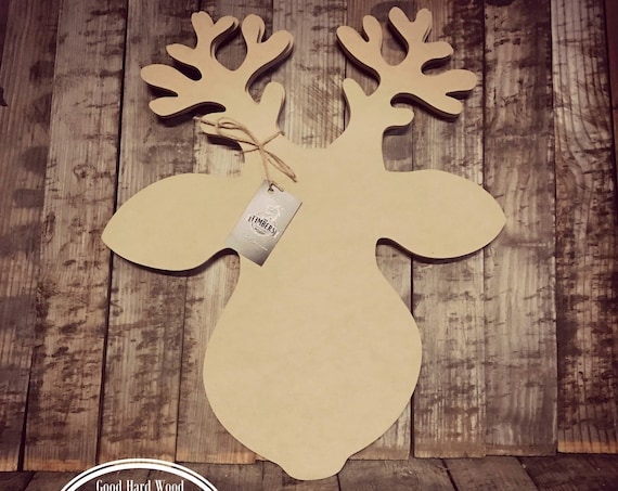 Unfinished, Reindeer, Christmas, Door Hanger, Ready To Paint, Decor, DIY, Blank, Holiday Decor, Paint Blank, Wood, Cut, Out  DT2056