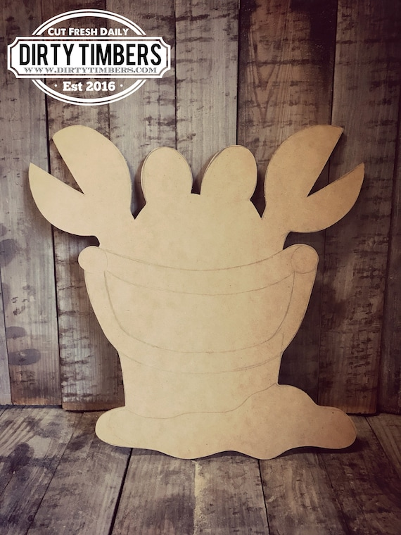 Unfinished, Crab, Bucket, Door, Hanger, Summer, Beach, DIY, Blank, Wood, Cut, Out, Ready, To, Paint, Custom, Wholesale