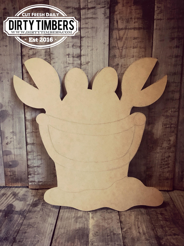 Unfinished Crab Bucket Door Hanger Summer Beach Diy