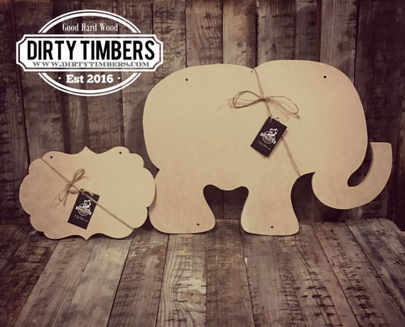 Unfinished, Elephant, Baby, Announcement, Baby Shower, Door, Hanger, Alabama, DIY, Ready to Paint,  Blank, Wood  Cut Out, Wholesale, DT2071
