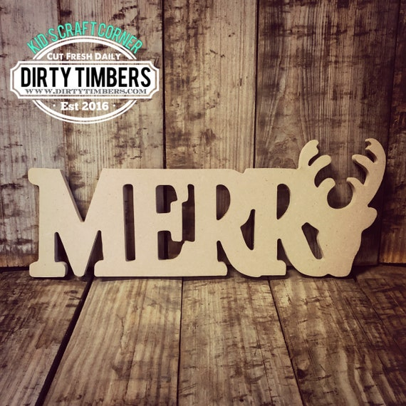 Unfinished, Merry, Reindeer, Kids, Craft, Small, Door, Hanger, Wreath, Christmas, Party, DIY, Blank, Wood, Cut, Out, Ready, To, Paint