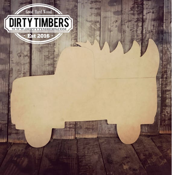 Unfinished, Truck, Tree, Christmas, Holidays, Ready to Paint, Door, Hanger, Decor, DIY, Blank, Cut Out, Wholesale, DT2124