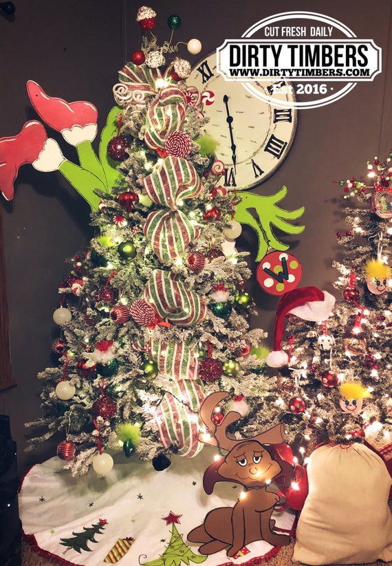 Unfinished, Grinch, Christmas, Tree, Set, Grinchmas, Decor, Character, Ornament, Door, Hanger, Diy, Wood, Blank, Holiday Decor,