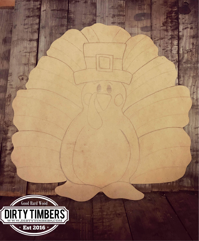 Unfinished Turkey Fall Door Hanger Thanksgiving Diy Blank