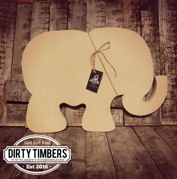 Unfinished, Elephant, Baby, Shower, Decor, Ready to Paint, Door, Hanger, Alabama, Wood, Blank, Cut Out, DT2042