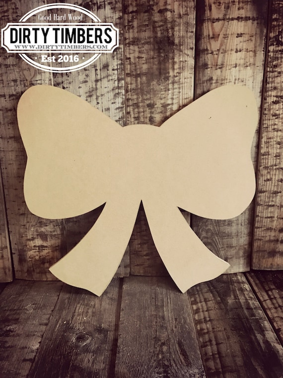 Unfinished, Bow, Ribbon, Christmas, Door, Hanger, Ready, Paint, Wood Blank, Wood Cut Out, DIY, Blank, Custom, DT2078