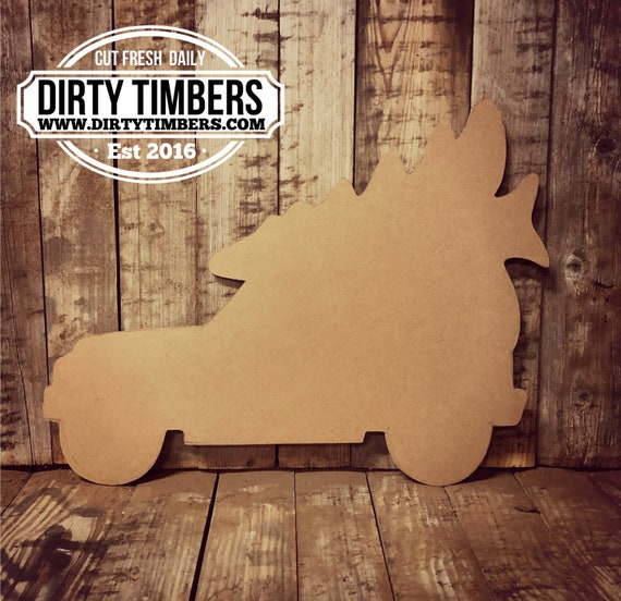 Unfinished, Jeep, Tree, Christmas, Door Hanger, Ready To Paint, Decor, DIY, Blank, Holiday Decor, Paint Blank, Wood, Cut, Out