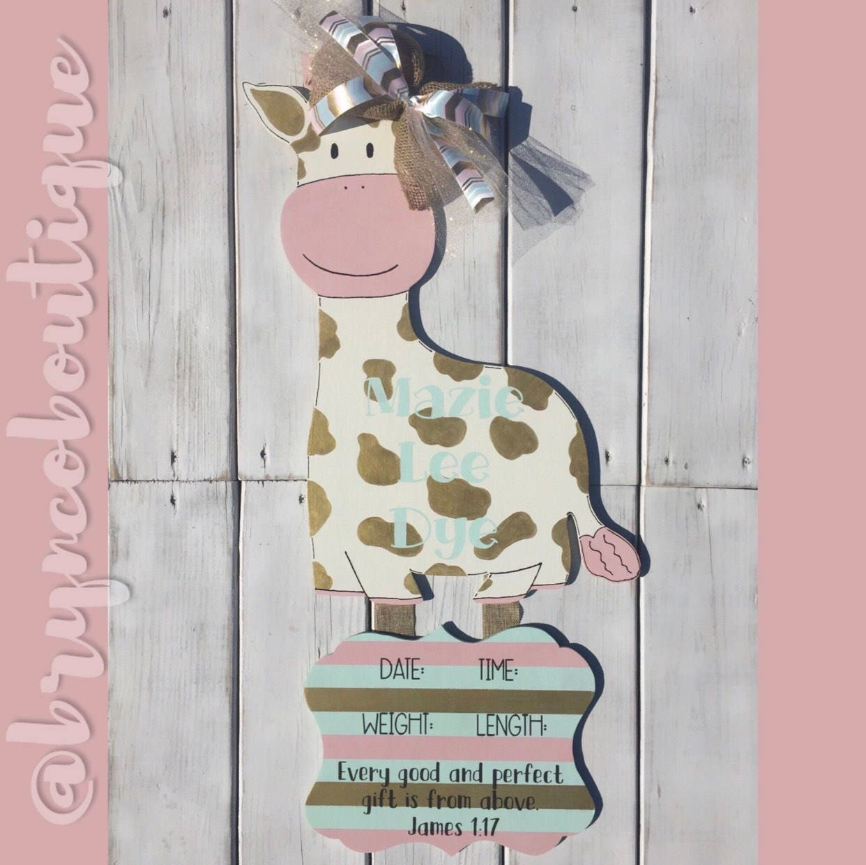 Unfinished Giraffe Baby Announcement Baby Shower Door