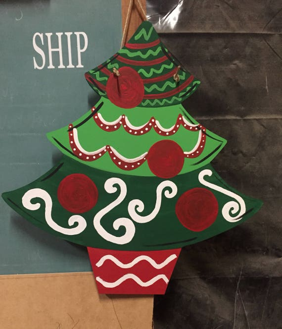 DIY Ready Wood Tree Door Holiday Unfinished Out Christmas Hanger Paint Cut Star Custom,Wholesale To Blank