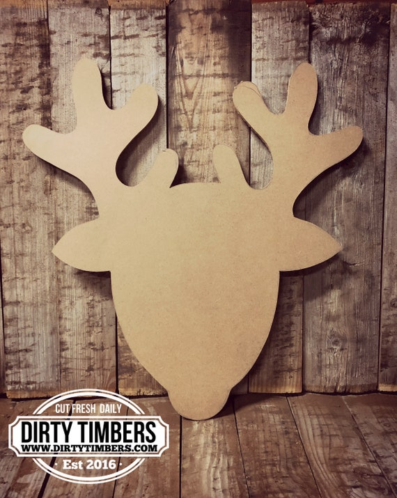 Unfinished, Reindeer, 2, Christmas, Door Hanger, Ready To Paint, Decor, DIY, Blank, Holiday Decor, Paint Blank, Wood, Cut, Out