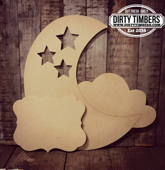 Unfinished, Moon, Baby, Announcement, Birthday, Part, Door, Hanger, DIY, Blank, Wood, Cut, Out, Ready, To, Paint, Custom, Wholesale