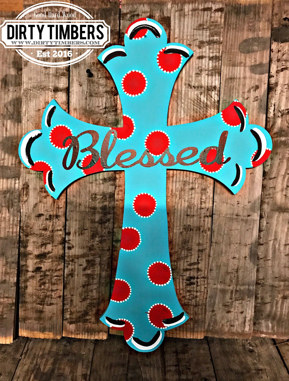 Painted Wood Cross Door Hanger