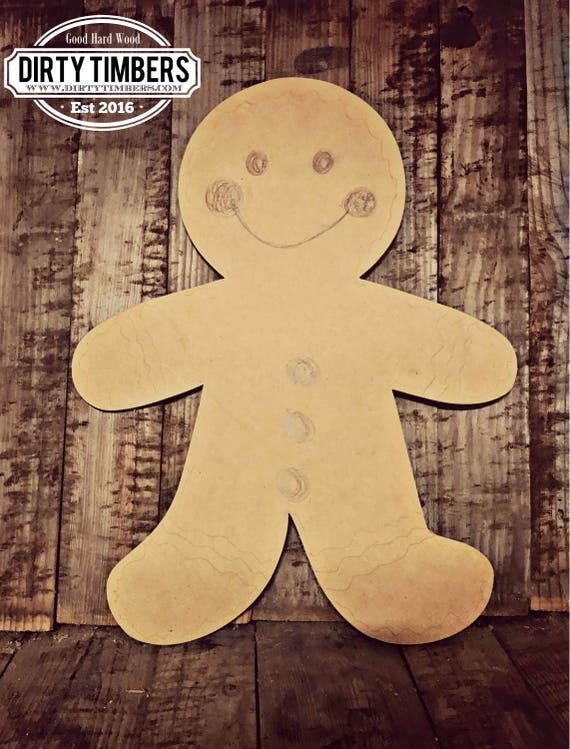 Unfinished, Ginger, Bread, Man, Christmas, Holiday, Ready to Paint, Door, Hanger, Decor, DIY, Blank, Cut Out, DT2135