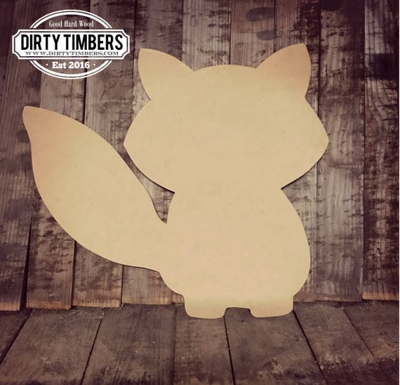Unfinished, Fox, Baby, Announcement, Large, Diy, Wood, Blank, Cut, Out, Ready to Paint, DIY, Custom, Door, Hanger,Wholesale