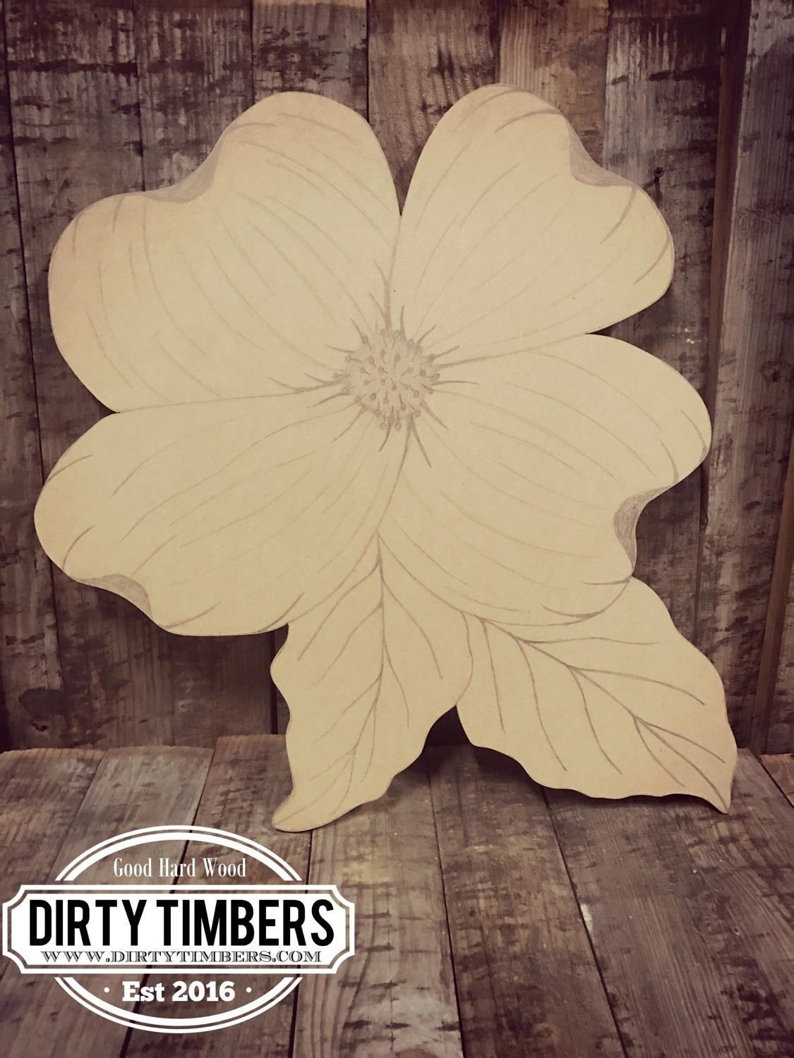 Unfinished, Dogwood, Flower, Door, Hanger, 2 Leaf, DIY, Blank, Wood, Cut,  Out, Ready, To, Paint, Custom,