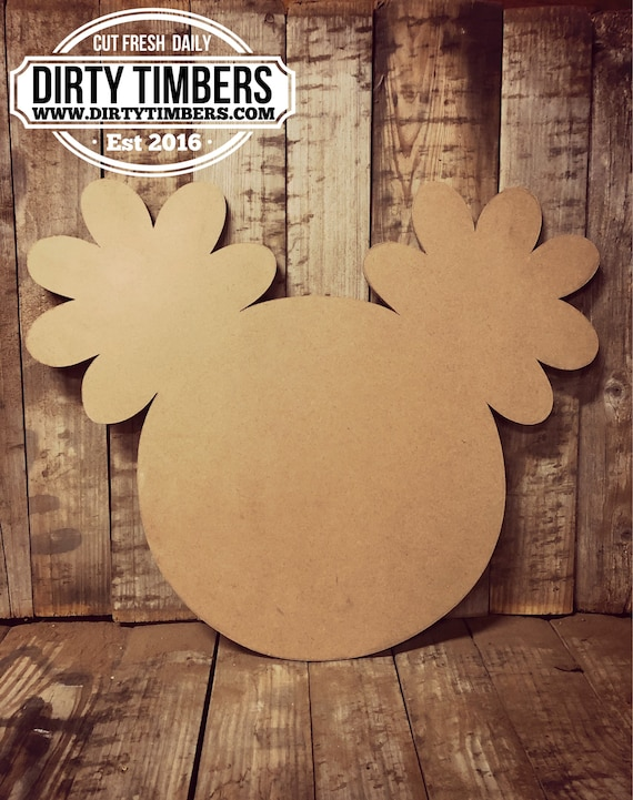 Unfinished, Minnie, Mouse, Flowers, Door, Hanger, Birthday, DIY, Blank, Wood, Cut, Out, Ready, To, Paint, Custom, Wholesale