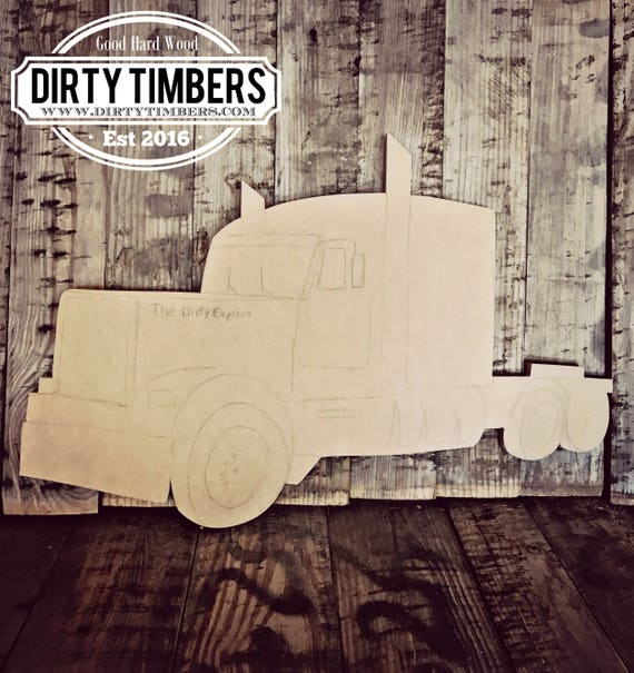Unfinished, Semi, Big Rig, Door, Hanger, Trucker, Truck, DIY, Blank, Wood, Cut, Out, Ready, To, Paint, Custom,Wholesale