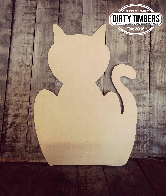 unfinished cat door hanger halloween pet diy blank wood cut