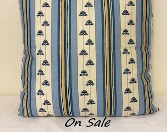 "20""x20"", Lee Jofa-Antibes Stripe Decorator Pillow Cover, Invisible Zipper"