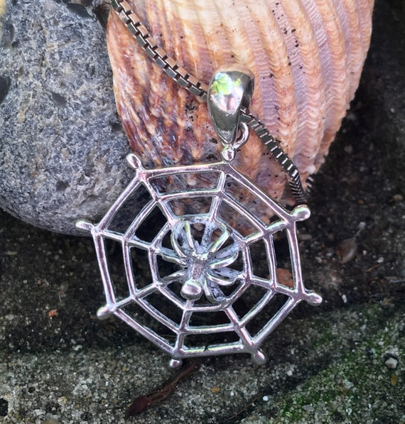 Silver necklace with spider and web pendant