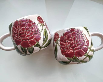 Handmade Ceramic Mug with Peonies, Spring Ceramic Mug, Peonies Ceramic Mug