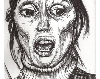 Original Ink Portrait the Shining Art, Shelley Duvall Sketch