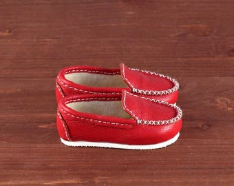 Red leather moccasins for BJD MiniFee