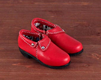 Red leather shoes for BJD MiniFee