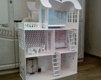 wooden barbie dollhouse furniture. Dollhouse With 3 Floors, Furniture, Wooden Barbie Dollhouse, Plywood House, Kit Furniture T