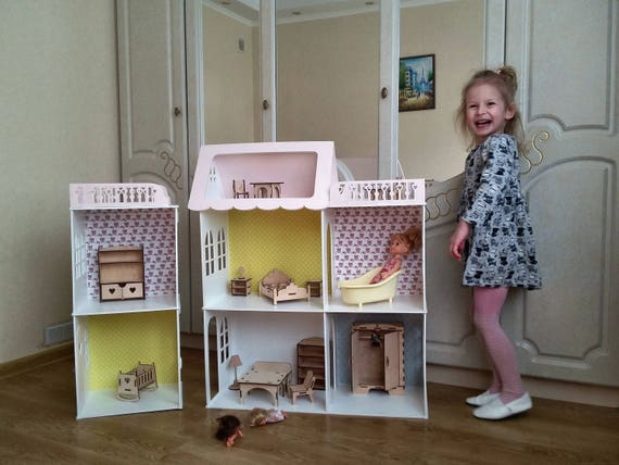 Wooden Dolls House Barbie Doll House Dollhouse Furniture Etsy