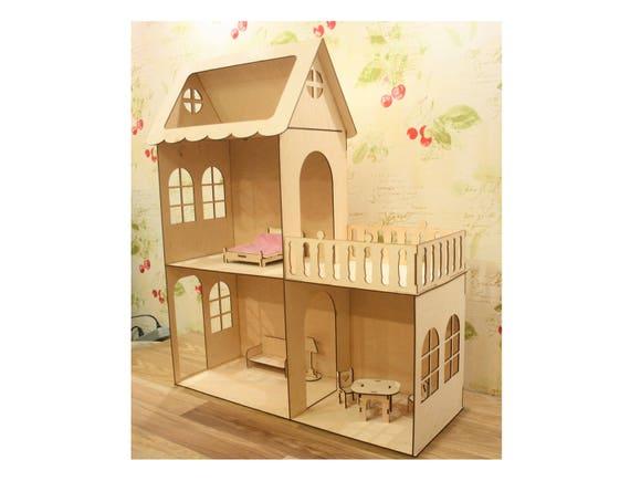 Houten Balkon Meubels : Houten poppen huis met meubels en balkon barbie doll house etsy